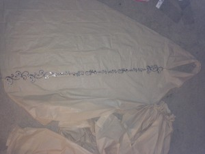 laying out for cutting and adding rhinestones