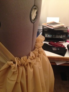 creating a gathers for the train of the dress